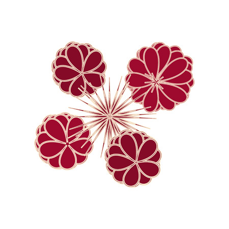 peaked: Dark red stylized flowers and polygonal peaked stars ornament on a white background Illustration