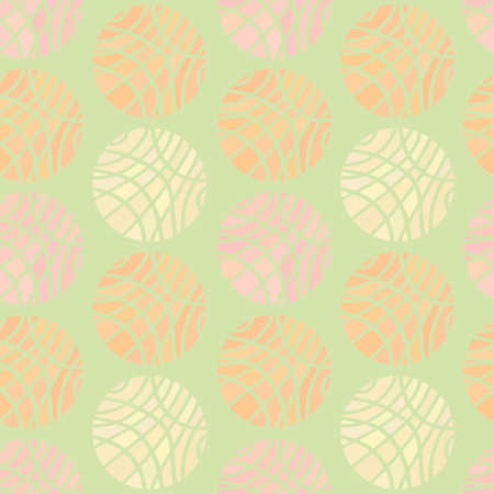 pale green: Seamless Pattern of Striped Spheres of Different Pastel Colors on Light Pale Green Background