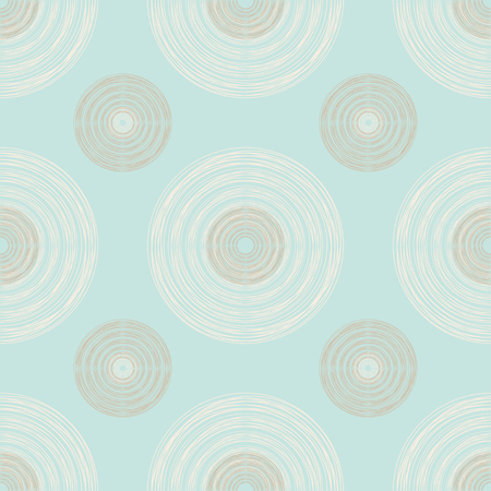 puerile: Seamless pattern of large and small brown and ivory circles of multiple lines on pastel mint background Illustration