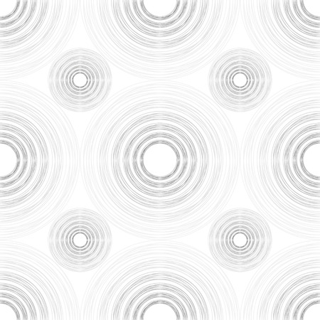 puerile: Seamless pattern of large and small light and dark grey gradient circles of multiple lines on white background