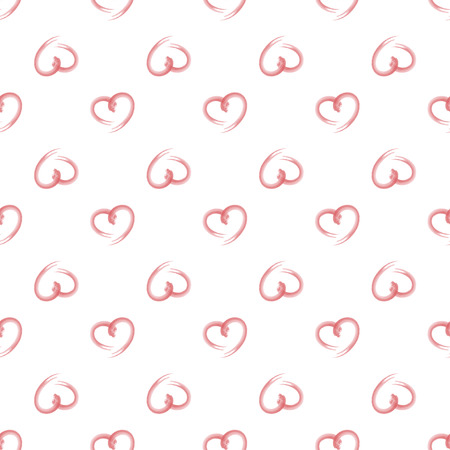 torn heart: Hand drawn artistic ink brush pattern of romantic red hearts on a white background Illustration