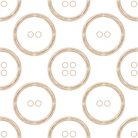 copper wire: Seamless pattern of stylized copper wire buttons on white background