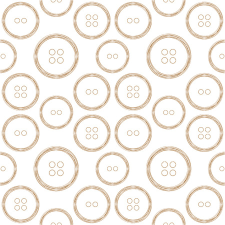 puerile: Seamless pattern of stylized copper wire buttons on white background