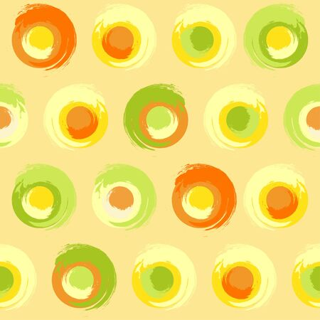multicoloured: Seamless pattern of grunge multicoloured circles on creamy-yellow background