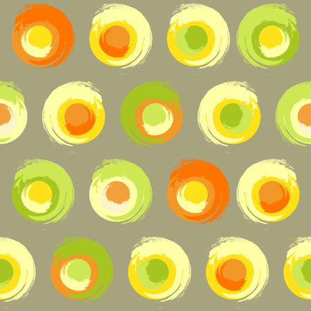 greyish: Seamless pattern of grunge multicoloured circles on greyish green or khaki background
