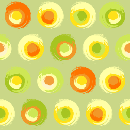 multicoloured: Seamless pattern of grunge multicoloured circles on pastel green background