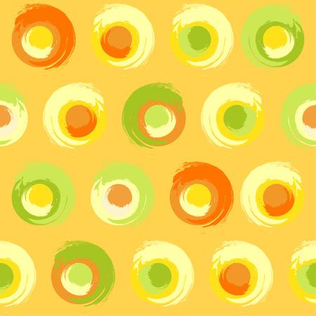 multicoloured: Seamless pattern of grunge multicoloured circles on yellow-orange background