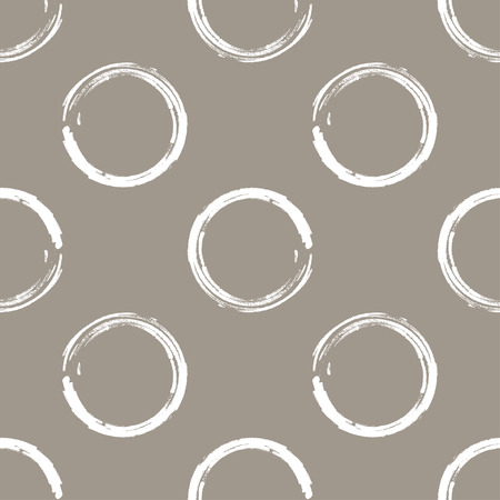taupe: Seamless pattern of white grunge circles on a white coffee background Illustration
