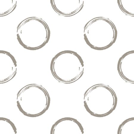 taupe: Seamless pattern of white coffee grunge circles on a white background