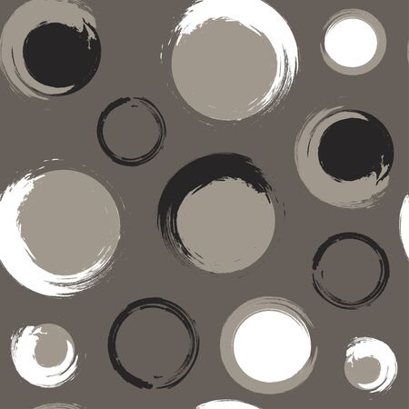 taupe: Seamless pattern of black and white grunge circles on a grey-brown or taupe background