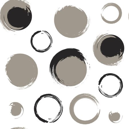 taupe: Seamless pattern of black and grey grunge circles on a white background