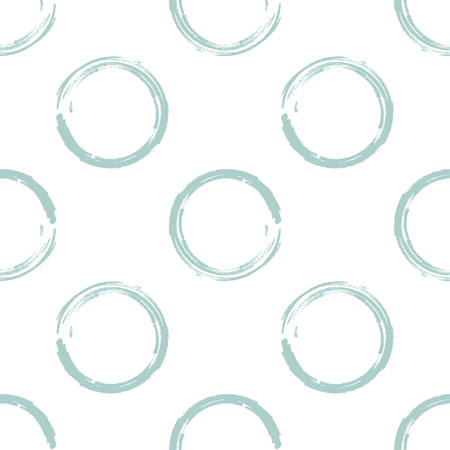 greenish blue: Seamless pattern of light greenish blue grunge circles on a white background Stock Photo