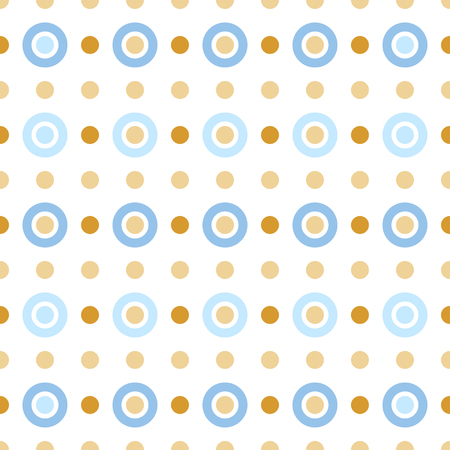 discs: Seamless pattern with dots and circles. Light beige, blue and gold ornament. Decoration repeated pattern of rings and discs. Abstract circles and polka dot background.