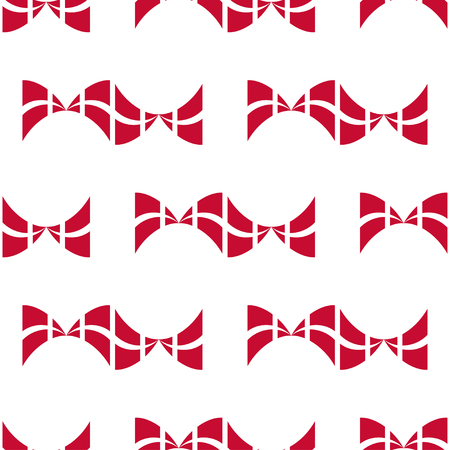 danish flag: Seamless pattern of stylized flags of Denmark. Constitution or National Day flat seamless pattern. Bows in colors of danish flag. Happy Constitution day of Denmark background. Illustration