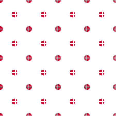 constitution: Seamless polka dot pattern of stylized flags of Denmark. Constitution or National Day flat staggered seamless pattern. Colors of Danish flag. Happy Constitution day of Denmark background. Illustration