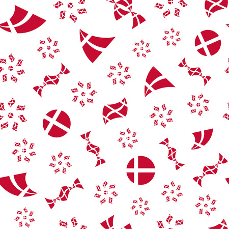 danish flag: Seamless pattern of stylized flying flags of Denmark. Constitution or National Day flat seamless pattern. Colors of Danish flag. Happy Constitution day of Denmark. Repeated vector background.