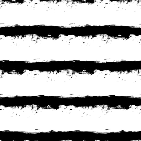 Abstract vector seamless pattern of grunge black ink horizontal stripes on white background.