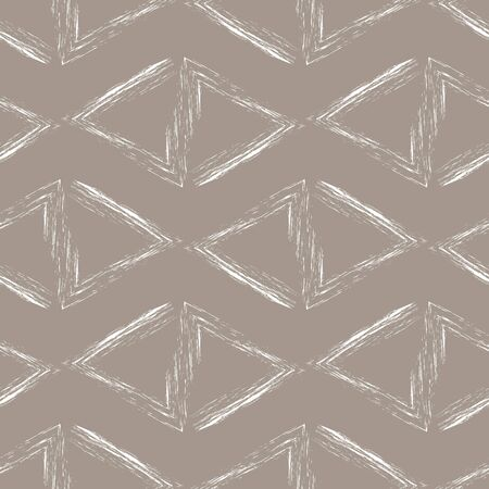 messy clothes: Seamless pattern of white grunge triangles on a beige background.Abstract vector modern wallpaper.