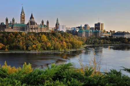 ottawa: Canadian Parliament from across the Ottawa River Stock Photo