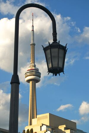 street light in front of the CN tower