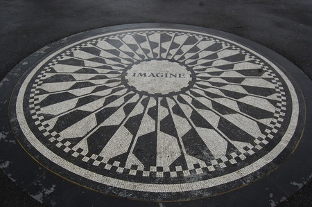 The Strawberry Fields monument to John Lennon in Central Park, New York City