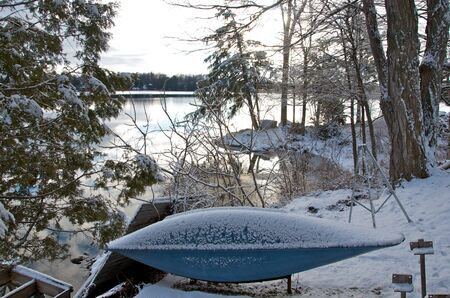 Canoe in the snow photo