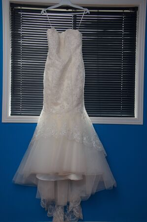 the wedding dress ready to put on