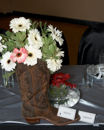 wedding flowers in a cowboy boot