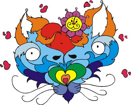 absract: Valentine cat Illustration