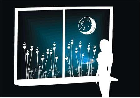 moonlit: Lonely moonlit night Illustration