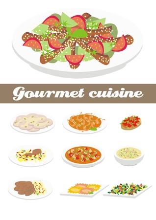 frise: Gourmet cuisine illustration Illustration