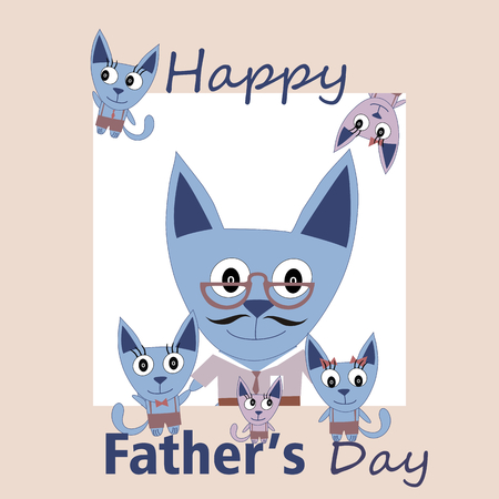 hatchling: Sweet card for Fathers Day with cats Illustration