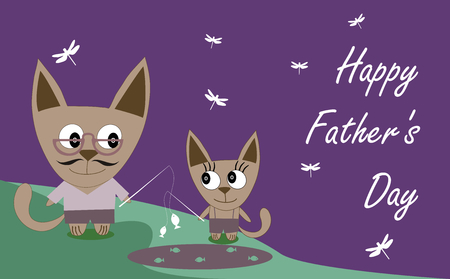 happy family nature: Sweet card for Fathers Day with cats Illustration