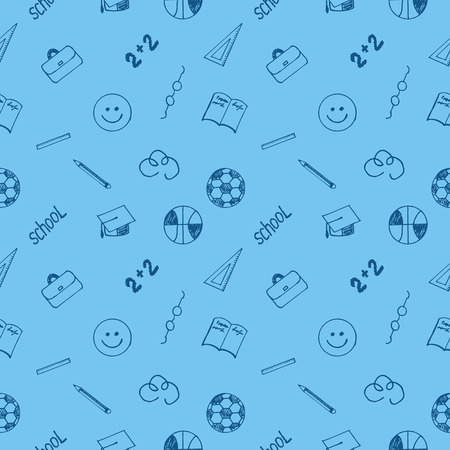 september 1: Seamless school texture on a blue background