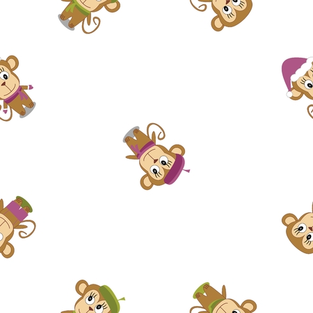 Seamless texture cute monkey on a white background