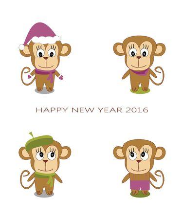 sassy: cute monkey on a white background - the New Year of the Monkey Illustration