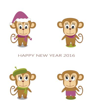 cute monkey on a white background - the New Year of the Monkey Illustration