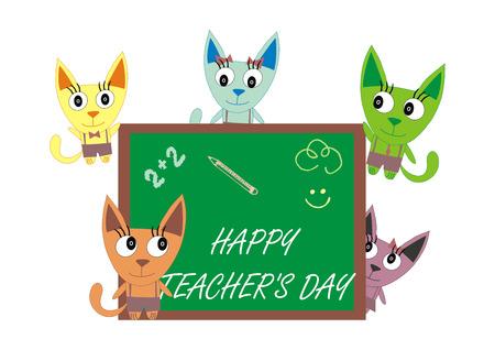 september 1: Teachers Day - Postcard kittens on a white background