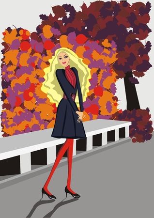 autumn fashion: Autumn fashion - illustration of a girl in the autumn park - Vector