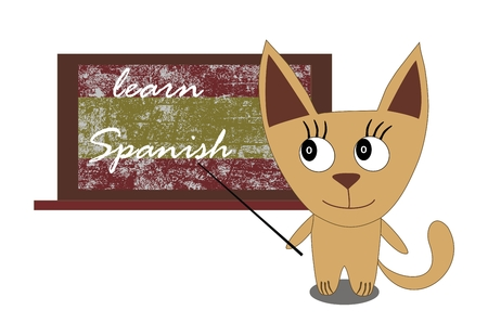 learn: Illustration of a cat with a blackboard - Learn Spanish