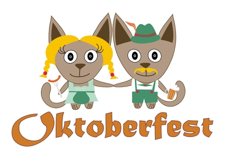 vin: Cats Oktoberfest with a hat, a beer and sausage - vector
