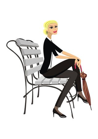 designer clothes: Illustration beautiful girl on a white background