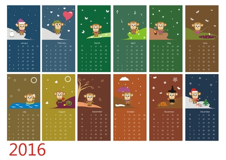 months: Calendar 2016 with cute monkey - Vector