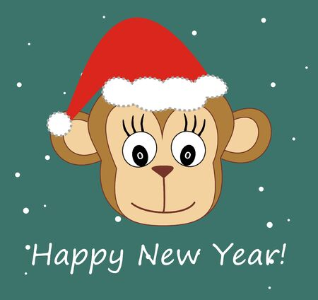 chinese astrology: Illustration monkey head in a cap - Happy New Year! Stock Photo
