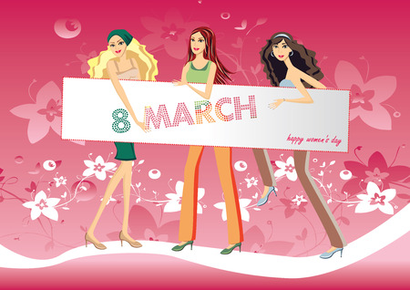 wallpaper International Women s Day: Illustration girls with an inscription 8 march and Happy Womens Day - vector Hình minh hoạ