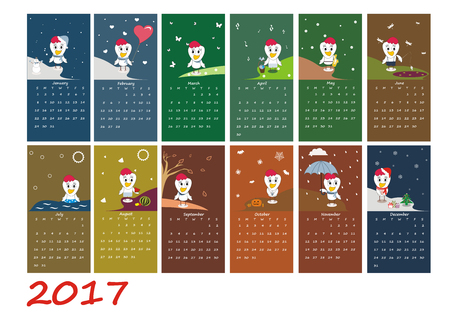 chinese symbol: Calendar for 2017 year with rooster - chinese symbol of new year. Week starts on sunday. Vector illustration