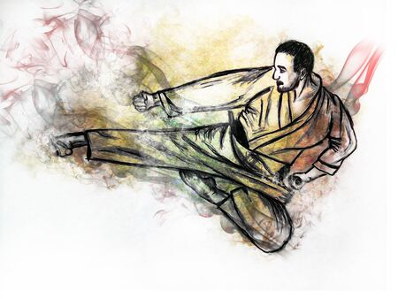 self  defense: Illustration karate man. Hand drawn picture - a sketch
