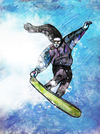 Hand drawing picture, sports theme : snowboarder