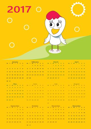 Calendar 2017 with cute rooster