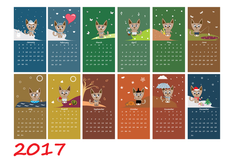 Calendar 2017 with cute cat Illustration
